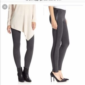 Joie Gray stretch leggings with faux leather
